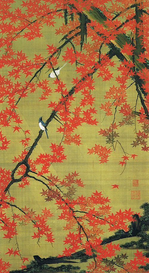 Red Maple and Small Birds (Kosho Shoukin Zu) by Jakuchu Ito #Japan #art #Jakuchu