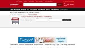 [PontoFrio.com] Berço Portátil Compacto Baby Style - 0 a 18kg - Vermelho 7490812 por R$ 199,90