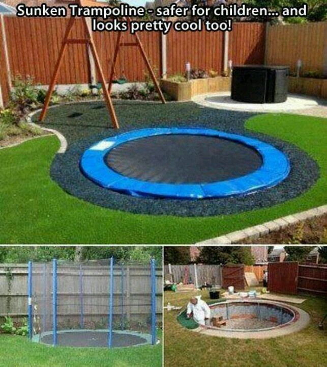 Good for kids who spend time on I phones or I pads. They might get some  exercise with this.A sunken trampoline is safer for kids and looks really  cool Idea ... - 21 Best Cheer/trampoline Images On Pinterest Trampoline Ideas