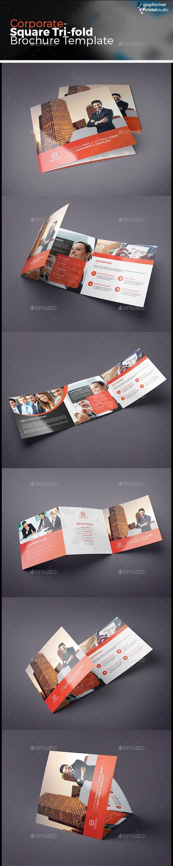 Square Tri-fold Brochure Vector Template EPS, AI #design Download: http://graphicriver.net/item/square-trifold-brochure/13554072?ref=ksioks