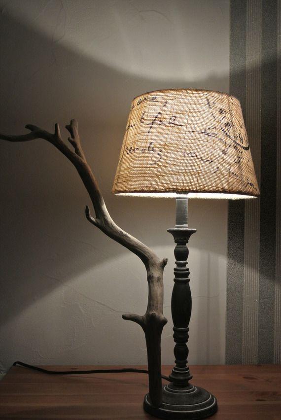 ~ Pour Tous ~ Lampe bois flotté et toile de jute imprimée - 45,00 € -