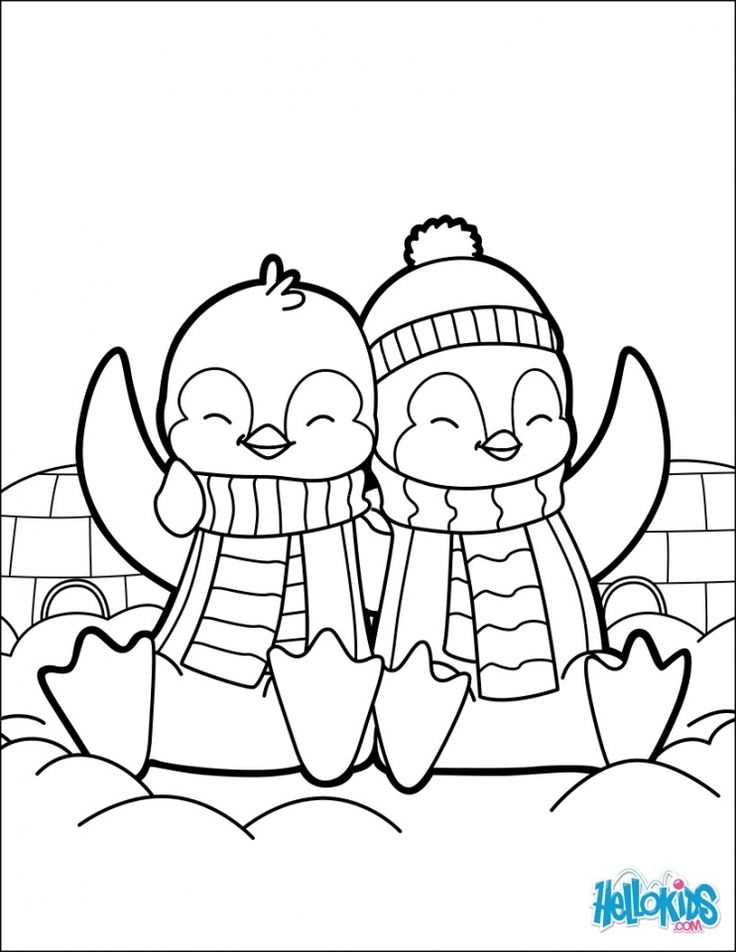 Cute Coloring Pages Of Penguins - Coloring Home  |Christmas Baby Penguin Coloring Pages