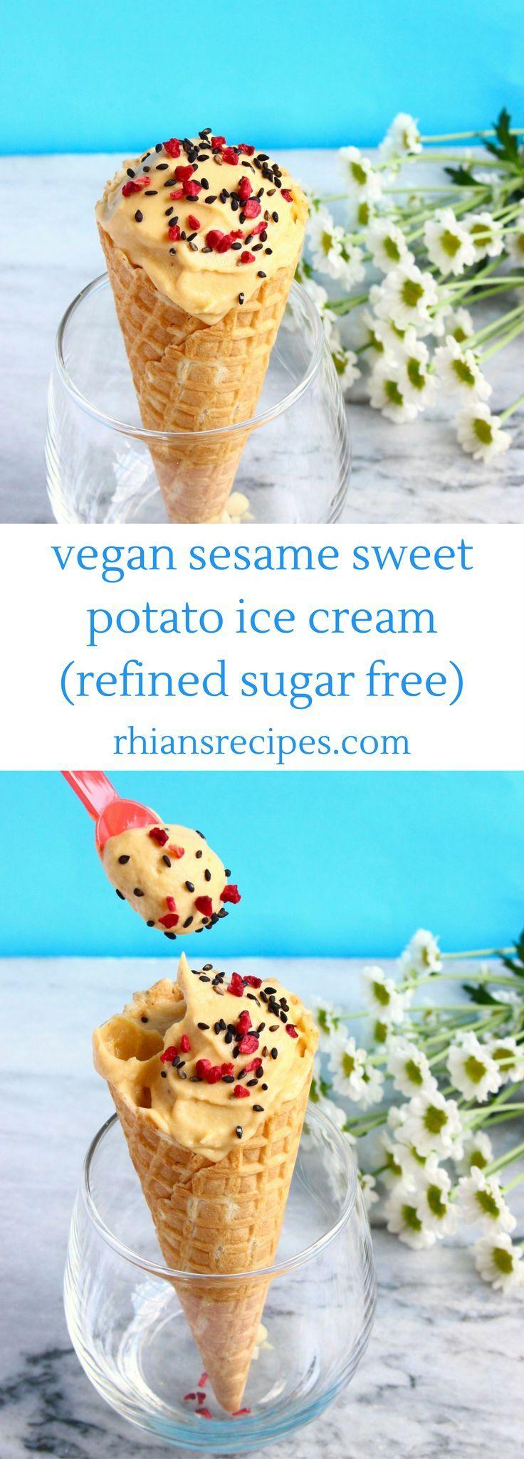 3-ingredient Vegan Sesame Sweet Potato Ice Cream - refined sugar free, gluten-free, nut-free, no ice cream maker required!