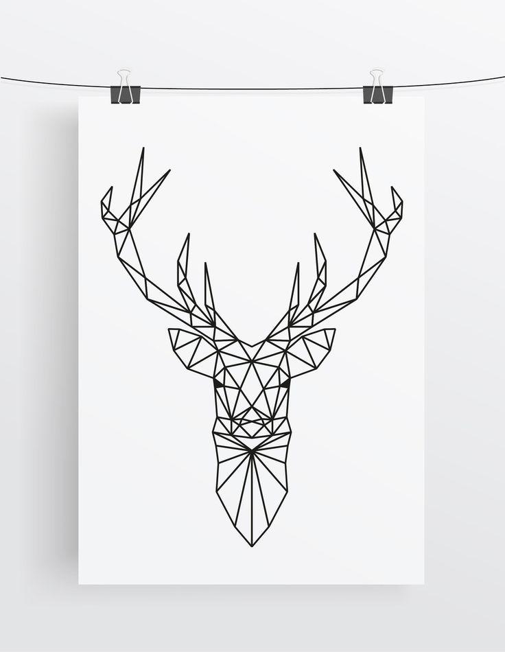 Art Print // Deer // Geometric // Antlers