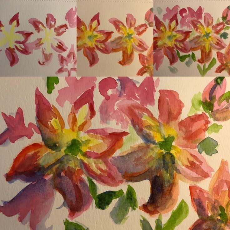 Red lily watercolor, original painting in 2020 Original