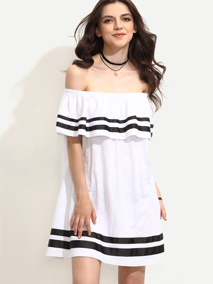Shop White Striped Trim Ruffle Off The Shoulder Dress online. SheIn offers White Striped Trim Ruffle Off The Shoulder Dress & more to fit your fashionable needs.