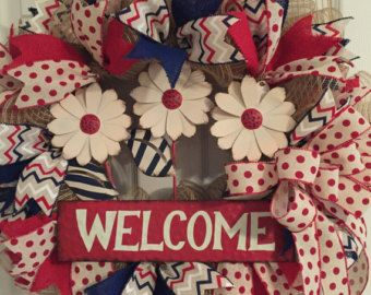 Patriotic Wreath Air Force Wreath Navy Wreath by RoesWreaths