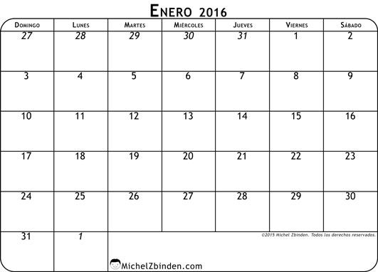 calendario enero 2016 libre de imprimir Clásico domingo Mundo