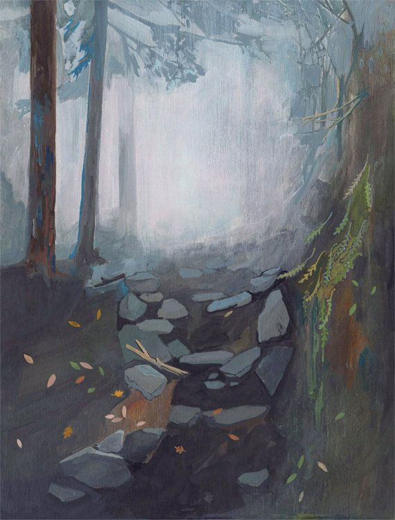 Foggy Trail  limited edition art print of original by DannaRay