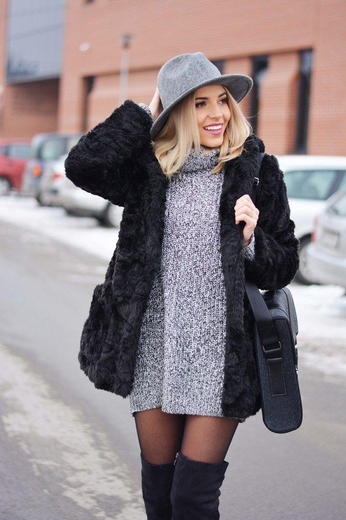 Magda es que llevaba un vestido de suéter de punto gris de Tally Weijl: