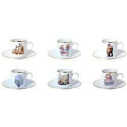 Coffret 6 tasses et soucoupes café differentes