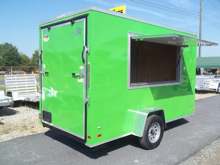 enclosed 6 x 12 arctic green concession trailer