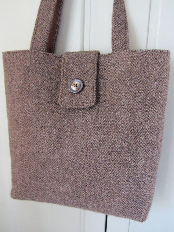 Shoulder bag in handwoven Shetland herringbone by FlaxandLoom