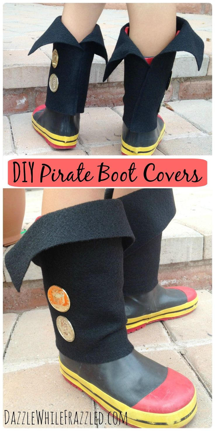 """Are they busy searching for treasure and gold doubloons? Whether for everyday dress-up playtime or for the next Halloween, make your little pirate super easy boot covers to slip over their rain boots or sneakers."""
