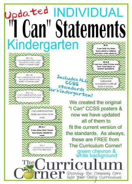 "FREE Individual I Can Statements for CCSS Kindergarten We have updated our ""I Can"" statements for kindergarten!  This set has a green chevron background and includes all of the current CCSS standards (as of 8/28/2014) written in kid friendly language.  We think these are great for displaying the current classroom goals.  We have updated our ""I Can"" statements for kindergarten!  This set has a green chevron background and includes all of the current CCSS standards (as of 8/28/2014) written in…"