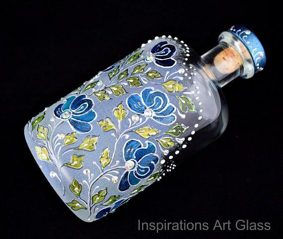 Painted Bottle Glass Bottle Whiskey bottle Hand painted