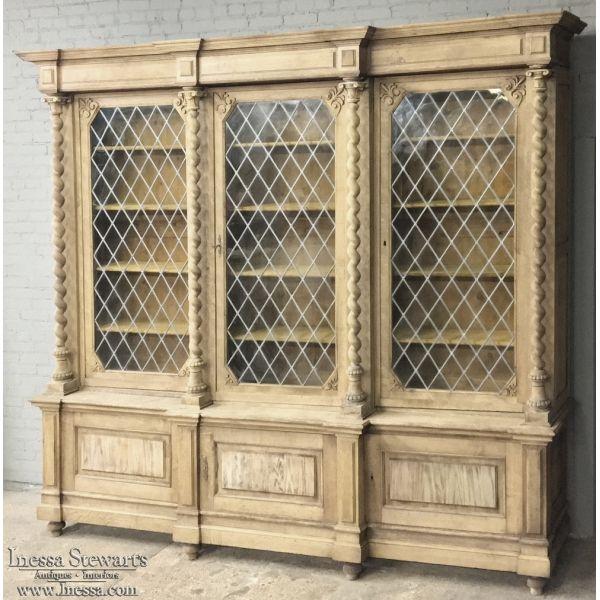 Antique Furniture | Antique Bookcases | 19th Century Grand English Renaissance Stripped Solid Oak Barley Twist Bookcase | www.inessa.com