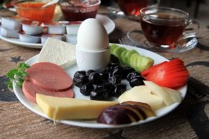 A typical Turkish breakfast plate in Istanbul, Turkey