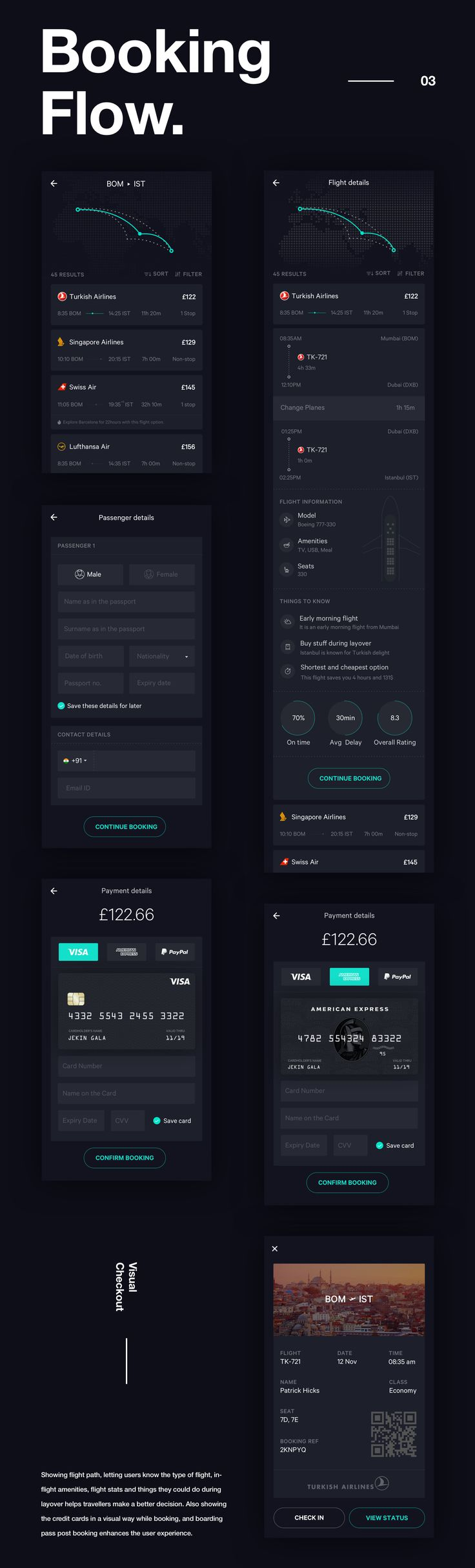 Travelers today want a flight booking app that takes care of the booking along with logistics so that they can just sit back and relax. Sadly, most of the apps out there don't focus on post booking experience. So I designed a concept app that takes care o…