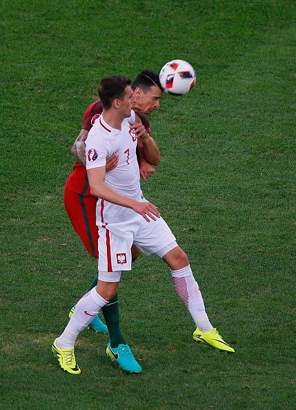 #EURO2016 Arkadiusz Milik of Poland in action during the Euro 2016 quarterfinal football match between Poland and Portugal at the Stade Velodrome in Marseille...