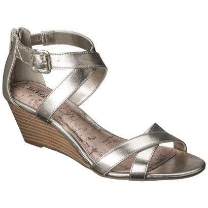 Women's Merona® Edda Zip Back Low Wedge Sandal - Gold - $22.99 and 2 in heel- same as white