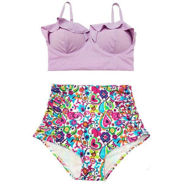 Lavender Midkini Top and Colorful Ruched High Waisted Waist Bottom... (520 ZAR) ❤ liked on Polyvore featuring swimwear, bikinis, swim, swimsuit, silver, women's clothing, beach bikini, retro swimsuit, high waisted swimsuit and retro high waisted bikini