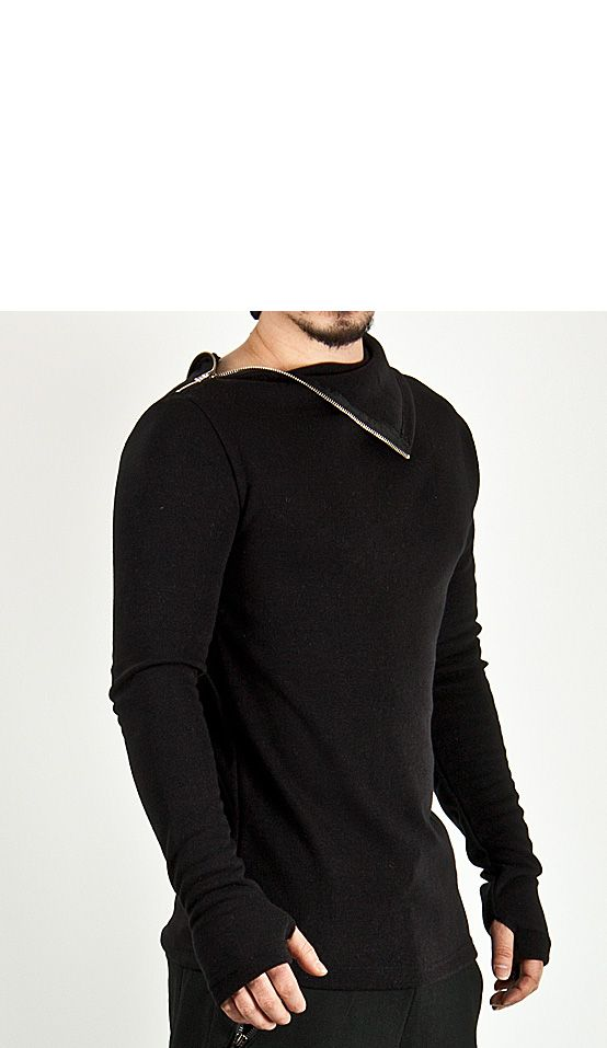 Diagonal Turtle-neck Accent Arm-warmer Ninja Tee