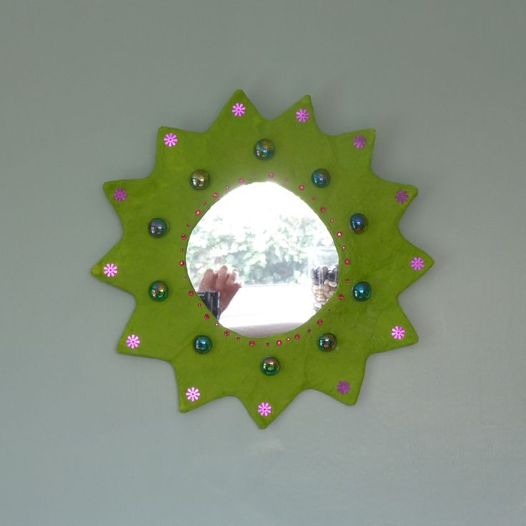 lime green daisy paper mache mirror