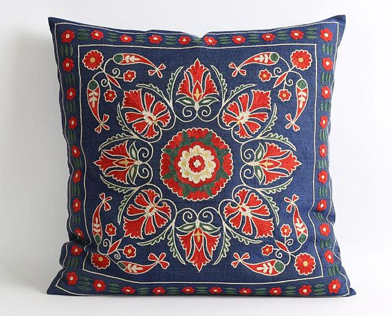 Suzani pillow | Hand embroidered pillows, Embroidered pillow