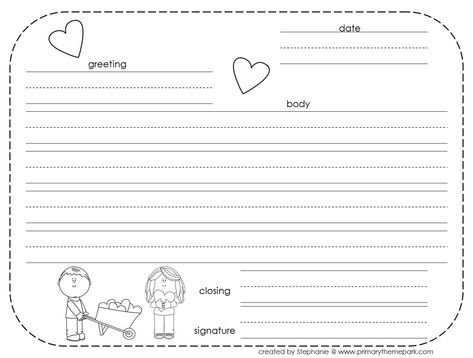 friendly letter template parts of a friendly letter worksheet