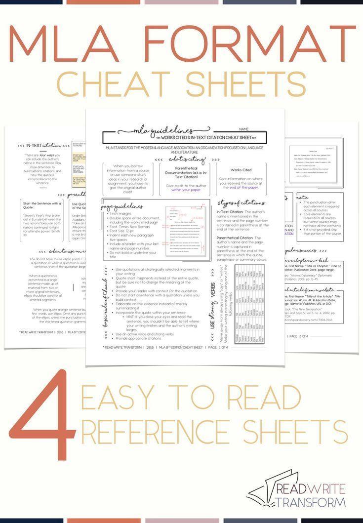 Updated 2019 Mla 8 Format Cheat Sheet In 2020 Mla Format Mla Citation Middle School Writing