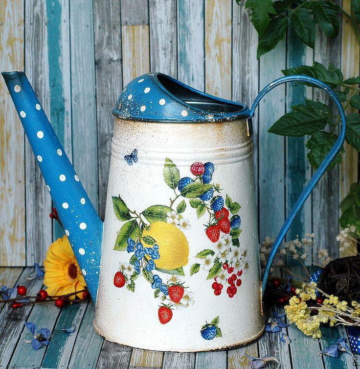 """Купить Лейка """"Ягодный лимонад"""" - синий, горошек, горох, лёка, лимон, ягоды, лейка с ягодами"""