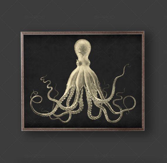 Lord Bodner Octopus Print, Vintage Poster, Duke Ballantine Octopus, Kraken, Art , Nautical Print, Industrial Decor, Beach Decor, Shabby Chic