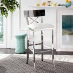 Zoey 30.5 in. Stainless Steel Cross Back Bar Stool in White