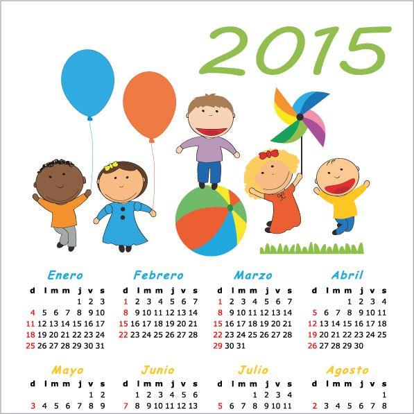Calendario 2015 en espa ol de ni os vector for Clipart calendario
