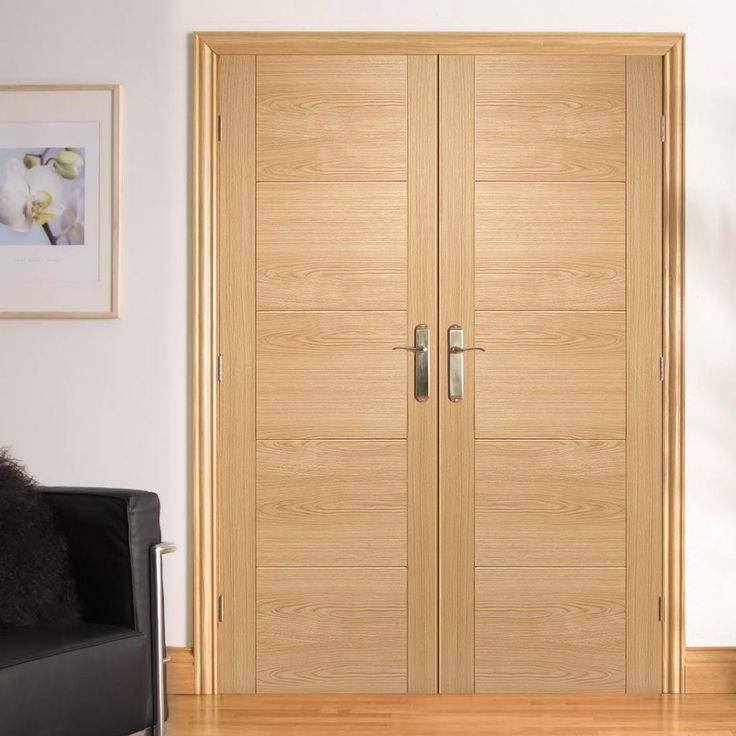 Vancouver Oak 5 Panel Style Flush Door Pair Is Pre Finished