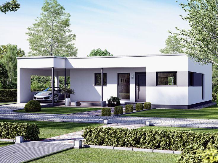 Moderner Bungalow mit Design-Carport.