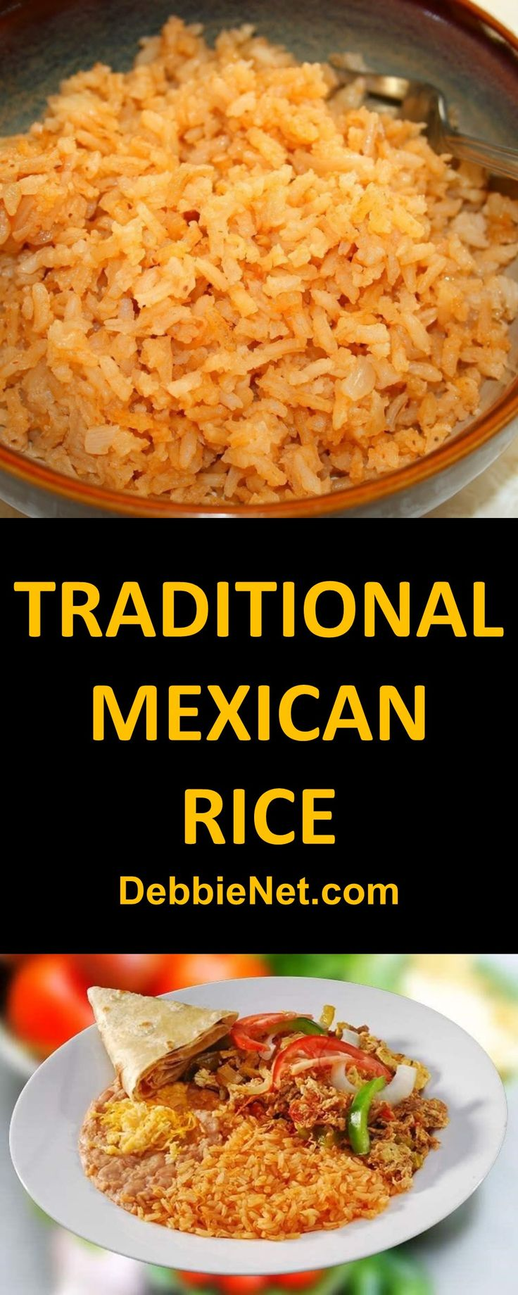 A great addition to taco night. Mexican rice is easy to make and has so much more flavor that regular white rice. | DebbieNet.com
