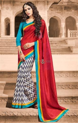 #Printedsaree and #beautifulblouse designs made out of bhagalpuri silk for ladies Grab attention instantly and get the vibrant as well as lively looks with this printed saree and beautiful blouse designs made out of bhagalpuri silk for ladies.