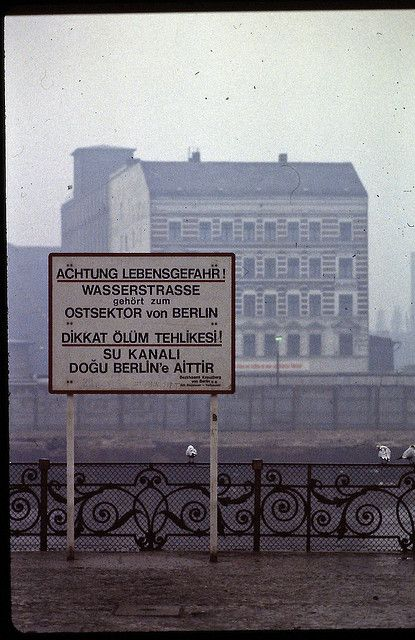 "The Berlin Wall, Germany, West Berlin - February 1982 - ""Beware - life-threatening danger - the waterway belongs to the east sector of Berlin"", in other words ""if you fall into the water, West Berlin police cannot intervene here""."