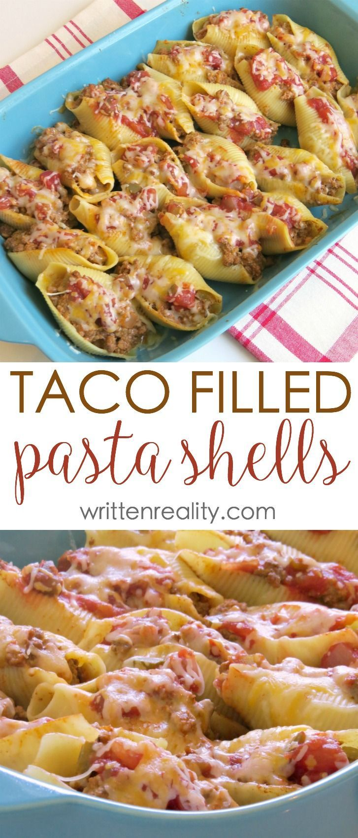 Taco Filled Pasta Shells Recipe  This recipe for taco filled pasta shells is an easy one. It's the perfect meal idea for busy weeknights that the whole family will love.