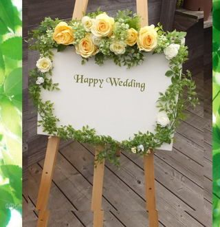 Welcome Board of yellow green and karenai flower welcome boards and boards for bringing yellow roses, Bridal, celebration, artificial flowers welcome Board, CT catalyst welcome Board, wedding