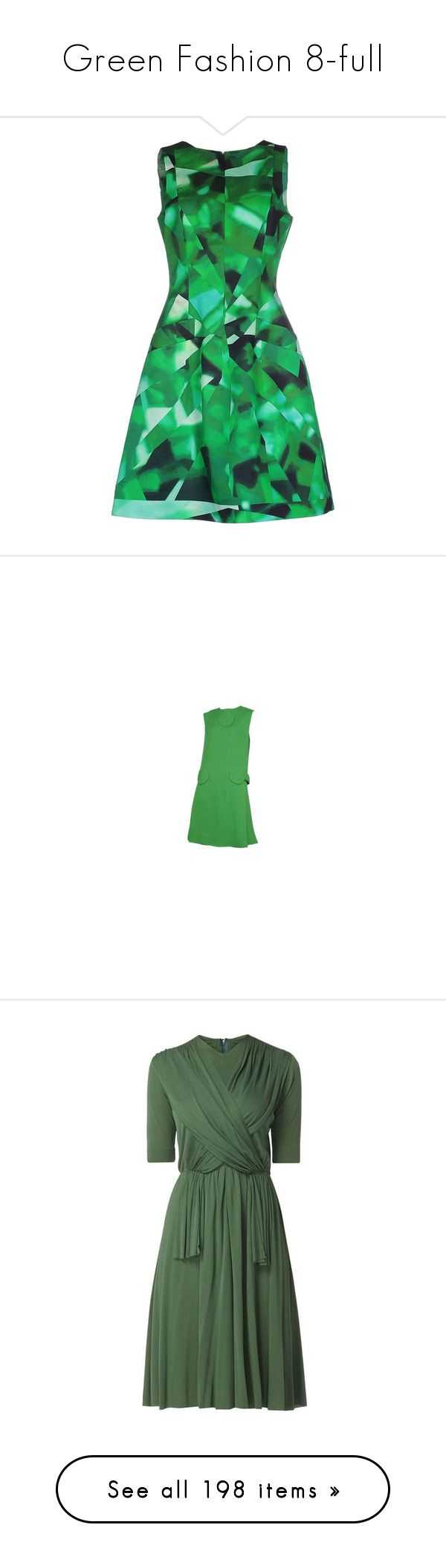 """""""Green Fashion 8-full"""" by franceseattle ❤ liked on Polyvore featuring dresses, green, rayon dress, trapeze dress, tent dress, green knee length dress, oscar de la renta dresses, pierre cardin, vintage dresses and pre owned dresses"""