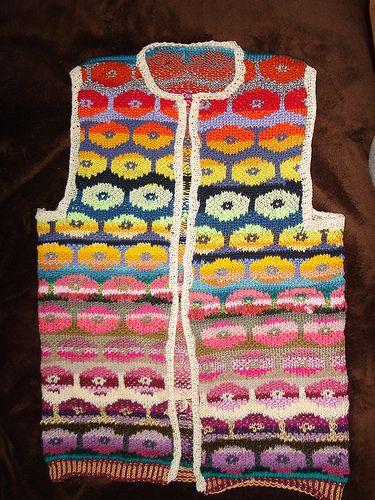 Kaffe Fassett's Persian Poppies vest.