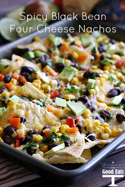 These Spicy Black Bean Four Cheese Nachos are perfect for a crowd or a weeknight dinner!