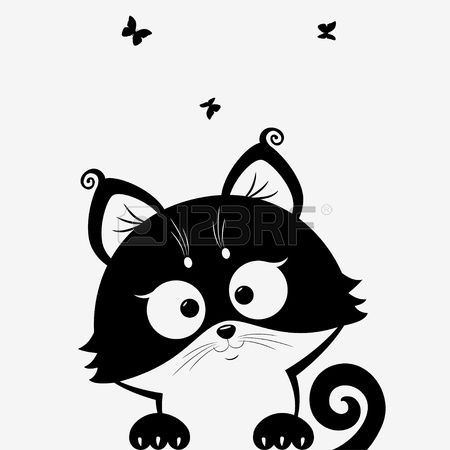 zwart wit illustratie silhouet schattige katten Stockfoto