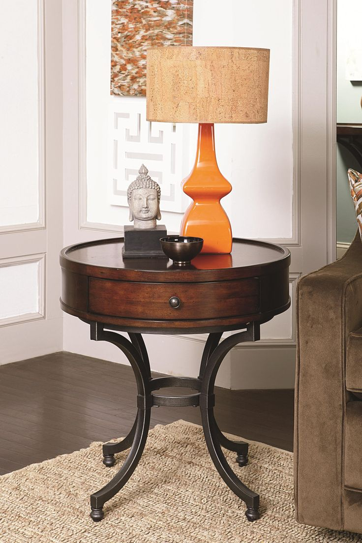 enclosed end tables | Barrow Round End Table with 1 Drawer