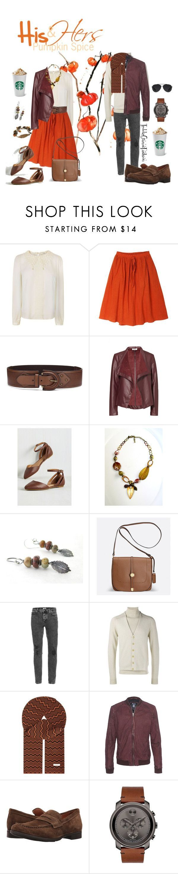"""""""His & Hers: Pumpkin Spice"""" by teddy-hummingbird ❤ liked on Polyvore featuring Darling, BB Dakota, Chico's, Avenue, Topman, Maison Margiela, Wales Bonner, TIGHA, Geox and Movado Sale! Up to 75% OFF! Shot at Stylizio for women's and men's designer handbags, luxury sunglasses, watches, jewelry, purses, wallets, clothes, underwear & more!"""