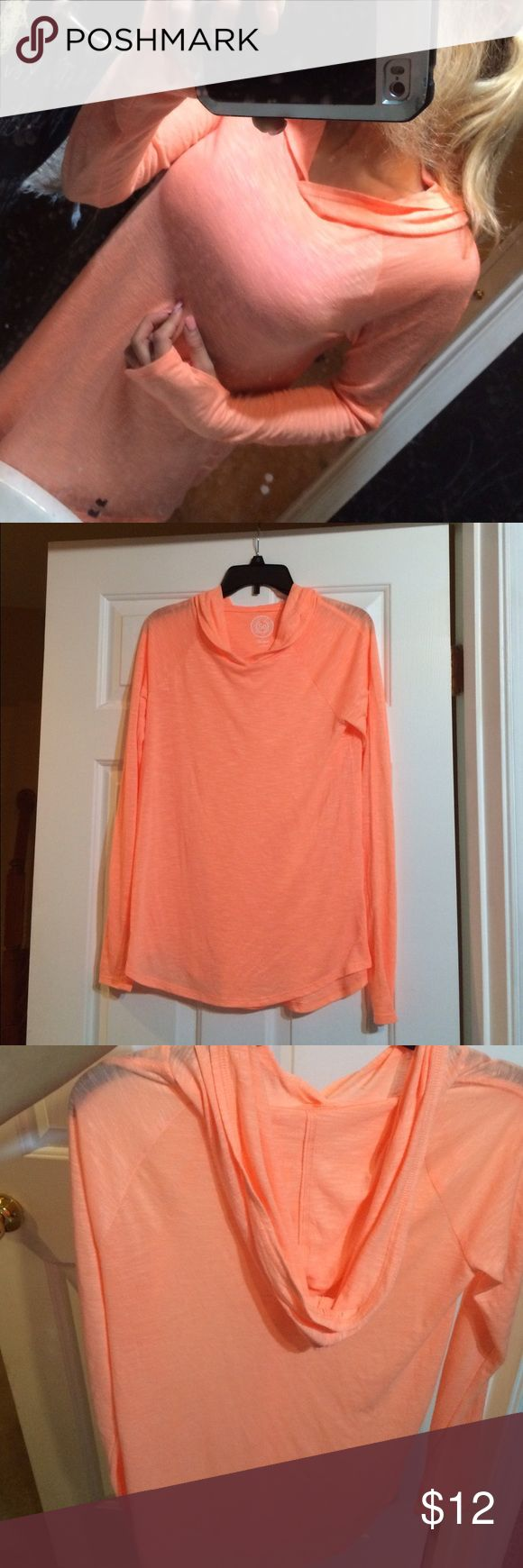 Lightweight pullover hoodie Super lightweight and comfy orange pullover. Size medium but fits loosely so could fit a small. Perfect condition, only tried Sweaters