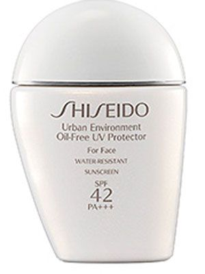 "Shiseido Urban Environment  ""oil-free, spf 42, water-resistant! use after a.m. moisturizer, before makeup, every day."""